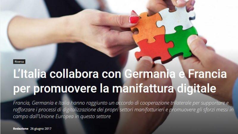 L'Italia collabora con Germania e Francia per promuovere la manifattura digitale