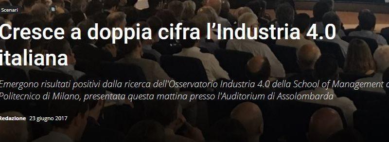 Cresce a doppia cifra l'Industria 4.0 italiana
